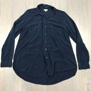Splendid Navy Blue Pocket Tunic Loose Blouse Top